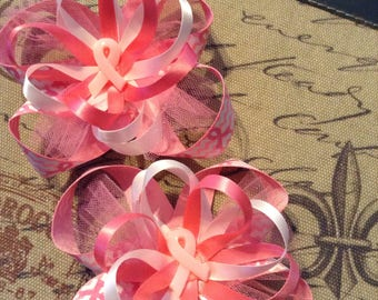 Pink breast cancer bows