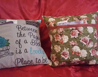 Embroiderd Reading/Pocket Pillow