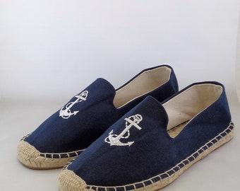 Men's Espadrilles made of linen with anchor motif