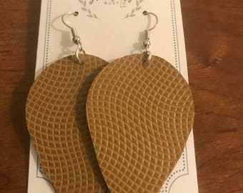 Beige Leather Reverse Teardeop Earrings
