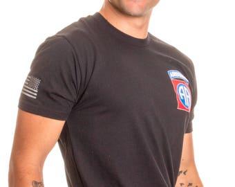 82nd Airborne Division & Sleeve Flag | U.S. Military Army Veteran Ft Bragg Shirt