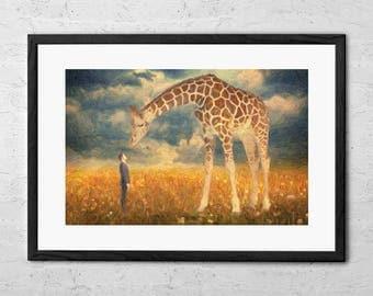 Encounter - Surreal Art Print - Surreal Painting - Giraffe Gift - Giraffe Print - Surreal Wall Art - Giraffe Nursery Wall Decor - Home Decor