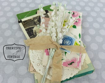Vintage crafting bundle De~stash Vintage flowers~St Patrick's Day card~photo~doilies~ letters~vintage wrapping paper~assemblage art supply