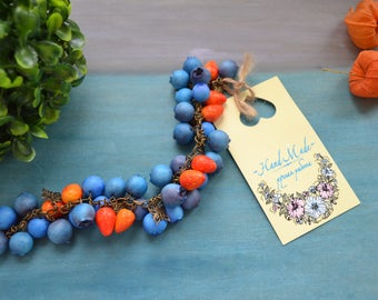 Вracelet strawberry blueberry,gift for her,Blue Red Berry,fruit berry jewelry,forest jewelry