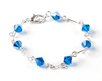 Blue Colored Glass Beaded Bracelets Jewelry Wire Wrapped With Silver Wire Handmade