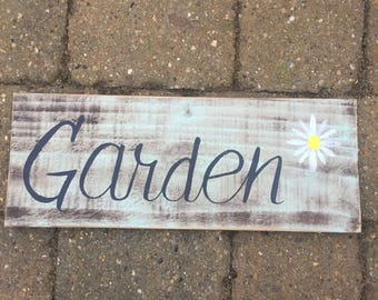 hand made and painted garden sign