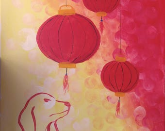 Chinese New Year Dog Year 16x20 Painting