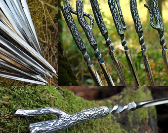 """Gift set of forged skewers """"Forest Spirit"""" - for BBQ, kebab, shashlik, shish kebab, barbecue, iron gifts, grill accessories"""