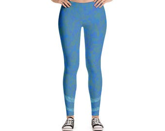 Blue Circle Leggings Design,Leggings,  AdoreDesignBoutique