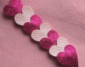 Glitter & leatherette hearts