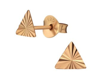 9ct Rose Gold Plated Egyptian Pyramid Stud Earrings ES-APS1500-FLAT-DC01-RGP/35789