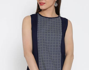 Blue Dot Print Top