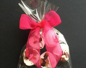 5 Heart Rose scented Bath Bombs with Hot Pink ribbon