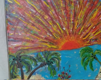 Original Acrylic Painting,  Sunset