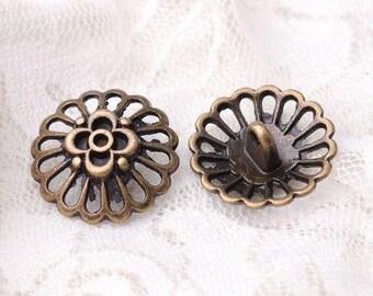 20*9mm 10pcs metal zinc alloy bronze buttons flower buttons shank button for coat sweater