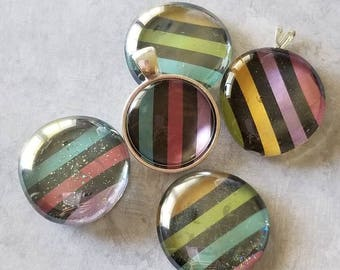 Multicolor and Black Striped Decorated, Magnet, Necklace Pendant, Cabochon