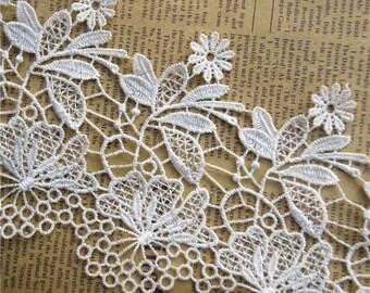 Floral lace trim, macrame lace trim,white stream lake,width 10.5 cm,attire lace trim, wedding dress trim-1 / yard