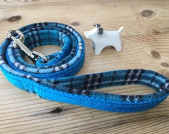 Turquoise Tartan Fleece Lined Dog Lead