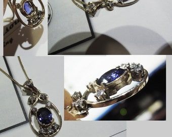 One of a kind Sapphire & Diamond 14k gold Pendant on 10k gold Necklace. Handmade