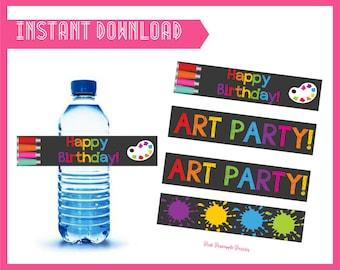 Art Party Water Bottle Labels - INSTANT DOWNLOAD