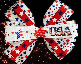 Americana Stars Patriotic Hair Bow