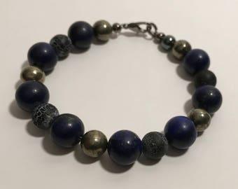 Gemstone Bracelet - Lapis Lazuli, Granite & Pyrite