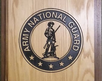 Custom Wood US Army National Guard Plaque