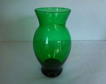 Green Glass Vase by Anchor Hocking