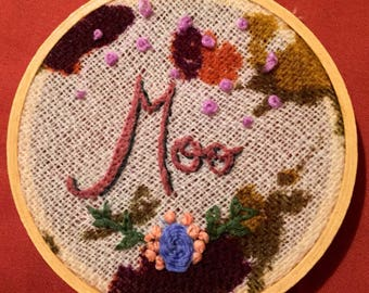 """Hanging """"Moo"""" Hand Embroidered Hoop"""