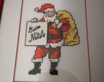 Merry Christmas square made in cross-stitch-Santa Claus-greetings