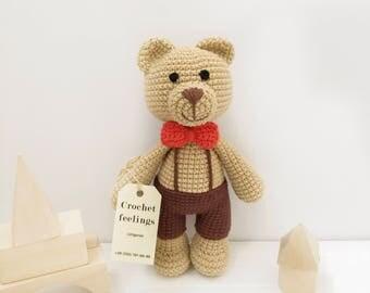 crochet bear teddy in shorts