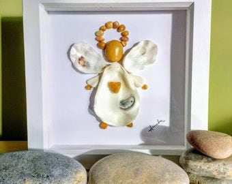 Angel, angel picture, pebble & shell angel picture, wall art, beach art, gift