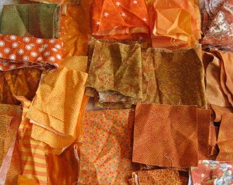 Stash-Buster Orange Cotton Quilting Fabric Scraps