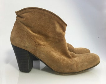 Vintage suede leather ankle boots spain size 6 1/2