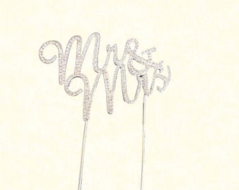 Silver Mr & Mrs Rhinestone Crystal Topper