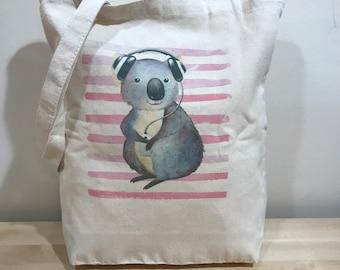 Koala loves music tote bag