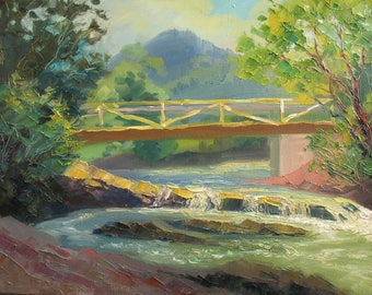 Summer Mountains,  River bridge, Landscape, Original painting, Canvas Painting, Oil art by Anna Trachuk