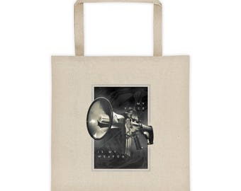 My Voice Is My Weapon - Flat Bottom Tote Bag