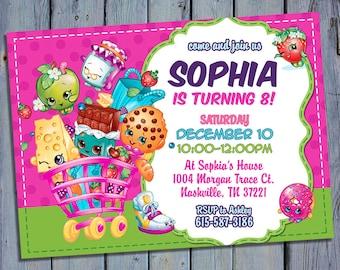 Shopkins Party Invite, Shoppies Birthday Card Invitation, Shopkin Shoppie Printable, Shopville Digital Invitations, Custom Printables