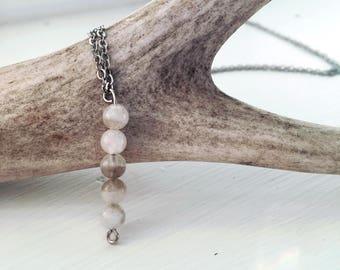 Moonstone Mala Bead Bar Necklace   Minimalist Necklace   Gemstone Necklace