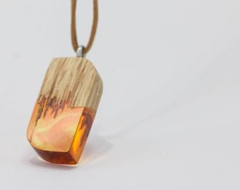 OrangeCurves wood and resin pendant