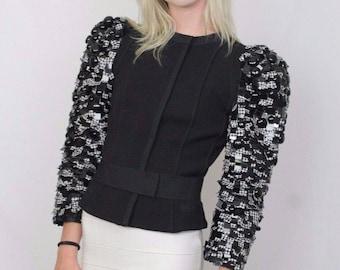 Authentic Dolce Gabbana Black Sequin Jacket sz 40 (It) - Video Available!