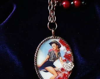 Pin-up Cowgirl Pendant w/chain