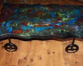 Psychedelic Epoxy Resin Coffee Table