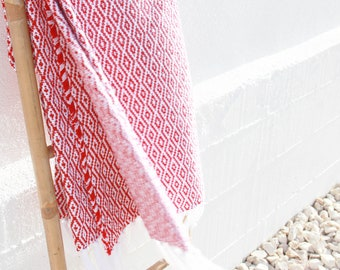 red cotton blanket