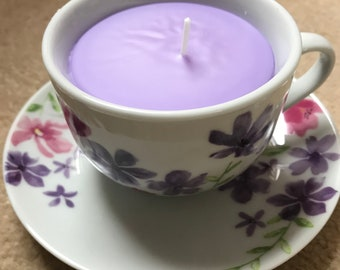 Handmade Strawberry Scented Candle in a Tea Cup