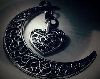 Moon and Heart necklace