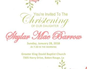 Floral Christening/Blessing Invitation