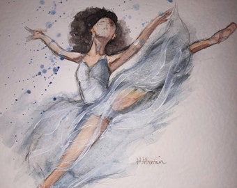 Blue Watercolour Ballerina