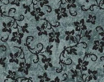 Dark blue calico with navy flowers and vines